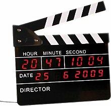 Digitaler Wecker LED Regieklappe Filmklappe Uhr Wanduhr Datum