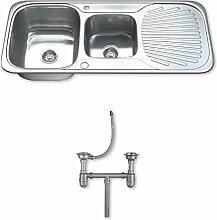 Dihl Mülleimer mit ks-1503-wst21,5One und Hälfte Schüssel Edelstahl Küchenspüle mit Sieb und Abfall–Chrom