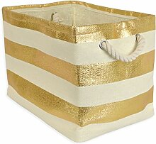 DII Home Essentials Woven Paper Collapsible Convenient Storage Bin for Office, Small, Gold Stripe