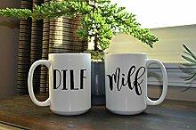 DILF und MILF weißes Kaffeebecherset Kaffeebecher
