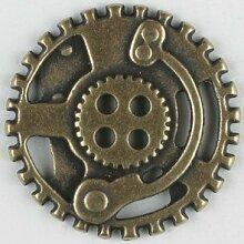 Dill® Vollmetallknopf Steampunk Zahnrad, 30mm - altmessing