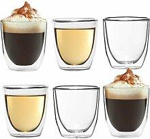 Dimono 6X Doppelwandiges Espressoglas 80ml