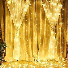 DINGYUFA LED-Vorhang-Licht, USB-Schnur-Licht 3 x 3
