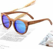 Dingziyue Frauen Bamboo Sonnenbrille polarisierte