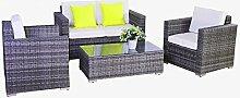 Dining Lounge Gartenmöbel Polyrattan Grau Rattan