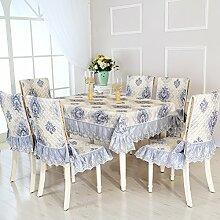 Dining Stuhl Kissen Set,Runde Tischdecke,,Einfach Sessel Cover Kissen Rechteckig Tee Tisch Tuch,Europäische Stoff Tischdecke-B Durchmesser180cm(71inch)