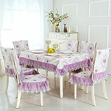 Dining Stuhl Kissen Set,Runde Tischdecke,,Einfach Sessel Cover Kissen Rechteckig Tee Tisch Tuch,Europäische Stoff Tischdecke-M 130*180cm(51x71inch)