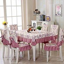 Dining Stuhl Kissen Set,Runde Tischdecke,,Einfach Sessel Cover Kissen Rechteckig Tee Tisch Tuch,Europäische Stoff Tischdecke-J 150*200cm(59x79inch)