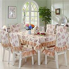 Dining Stuhl Kissen Set,Runde Tischdecke,,Einfach Sessel Cover Kissen Rechteckig Tee Tisch Tuch,Europäische Stoff Tischdecke-F 150*200cm(59x79inch)