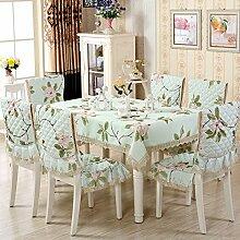 Dining Stuhl Kissen Set,Runde Tischdecke,,Einfach Sessel Cover Kissen Rechteckig Tee Tisch Tuch,Europäische Stoff Tischdecke-K Durchmesser180cm(71inch)