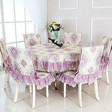 Dining Stuhl Kissen Set,Runde Tischdecke,,Einfach Sessel Cover Kissen Rechteckig Tee Tisch Tuch,Europäische Stoff Tischdecke-C 110x160cm(43x63inch)