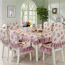 Dining Stuhl Kissen Set,Runde Tischdecke,,Einfach Sessel Cover Kissen Rechteckig Tee Tisch Tuch,Europäische Stoff Tischdecke-E 110x160cm(43x63inch)