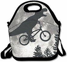 Dinosaur Bike And MOON Lunch Bag Tote Handbag