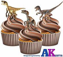 Dinosaures Poster-Velociraptor 12 décorations comestibles en gaufrette pour cupcakes