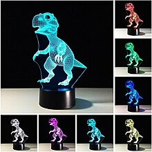 Dinosaurier 3D Optische Illusions-Lampe,7 Farben