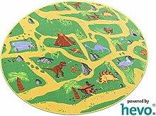 Dinosaurier HEVO® Teppich | Spielteppich | Kinderteppich 200 cm Ø Rund Oeko-Tex 100