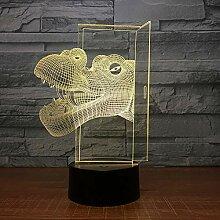 Dinosaurier kopf 3d led nachtlicht fernbedienung