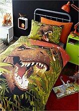 Dinosaurier T-Rex Kinder Quilt Bettbezug und 2Kissenbezüge Bettwäsche Bett Set, Dino grün, Doppelbe