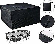 Diossad Gartenmöbel Schutzhülle Abdeckplane für Rechteckige Tisch Sitzgruppe Sitzgarnituren Schwarz 213 x 132 x 74cm