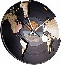 DISC´O´CLOCK Wanduhr Vinyl World Gold