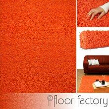 Discount Hochflorteppich Candy - Langflor Teppich orange 80x150 cm - Shaggyteppich günstig