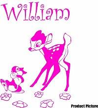 Disney Bambi Aufkleber mit Ihrem gewählten Namen 60cm x 40cm Farbe Wählen 18Farben auf Lager Namen, Name personalisiert, Childs Schlafzimmer, Kinder Zimmer Aufkleber, Auto Vinyl-, Windows und Wandtattoo, Wall Windows Art, Decals, Ornament Vinyl Aufkleber von 4printer Pink