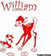 Disney Bambi Aufkleber mit Ihrem gewählten Namen 60cm x 40cm Farbe Wählen 18Farben auf Lager Namen, Name personalisiert, Childs Schlafzimmer, Kinder Zimmer Aufkleber, Auto Vinyl-, Windows und Wandtattoo, Wall Windows Art, Decals, Ornament Vinyl Aufkleber von 4printer Ro