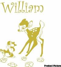 Disney Bambi Aufkleber mit Ihrem gewählten Namen 60cm x 40cm Farbe Wählen 18Farben auf Lager Namen, Name personalisiert, Childs Schlafzimmer, Kinder Zimmer Aufkleber, Auto Vinyl-, Windows und Wandtattoo, Wall Windows Art, Decals, Ornament Vinyl Aufkleber von 4printer Gold metallic