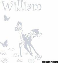 Disney Bambi Aufkleber mit Ihrem gewählten Namen 60cm x 40cm Farbe Wählen 18Farben auf Lager Namen, Name personalisiert, Childs Schlafzimmer, Kinder Zimmer Aufkleber, Auto Vinyl-, Windows und Wandtattoo, Wall Windows Art, Decals, Ornament Vinyl Sticker ThatVinylPlace Silber metallic