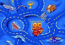 Disney Cars Queen Mc Lightning Strassenteppiche Strasse Rennstrecke blau Kinderteppich Teppich Kinderteppich Kinder Teppich Spielteppich darf in keinem Kinderzimmer fehlen 95 x 133 cm