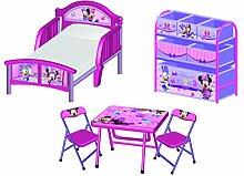 Disney Minnie Maus 3tlg. Kinderzimmer Set Kinderbett Regal und Sitzgruppe Kindermöbel Tisch Stühle Kindertisch