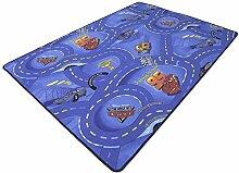 Disney Pixar World of Cars blau HEVO® Strassen Spielteppich 145x200 cm mit dunkelblauer Kettelkante