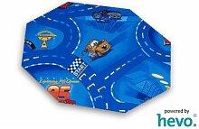 Disney Pixar World of Cars blau HEVO® Strassen Spielteppich 200 cm Achteck