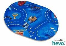 Disney Pixar World of Cars blau HEVO® Strassen Spielteppich 200x280 cm Oval