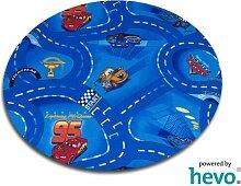 Disney Pixar World of Cars blau HEVO® Strassen Spielteppich 200 cm Ø Rund
