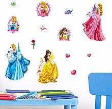 Disney Princess 3D Wandsticker, Vinyl, Mehrfarbig