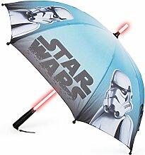 Disney Regenschirm für Kinder, Im Coolen Star Wars-Design mit Motiven von Storm Troopern, Leuchtender LED-Griff und Praktischer Schlaufe Regeschirm, Plastik, Bunt, 86.00 x 86.00 x 70.00 cm