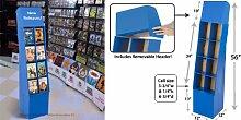 Displays2go Freistehende 8-pocket DVD-/Blu-Ray-Point of Purchase Display Ständer Wellpappe Regal Abfalleimer mit herausnehmbaren Header, Royal Blau