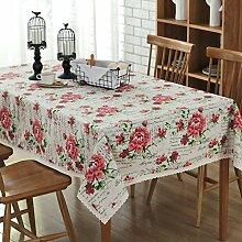 DIT Rose Print Tischdecke Baumwolle Leinen Tisch