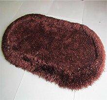 DiTan Wu Oval Bett Decke Verschlüsselung dicker elastisches Garn Liangsi komfortables Schlafzimmer Teppich Rutsch Yoga Tanzmatte Schalldämmung Teppichboden ( farbe : 5# , größe : 71cm*141cm )