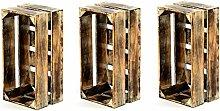 Divero 3er-Set Vintage Holzkiste Braun geflammt