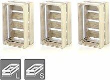 DIVERO 3er-Set Vintage Holzkiste weiß Staubox