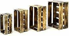 Divero 4er Set Vintage Holzkisten geflammt Braun