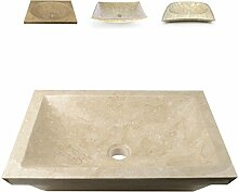 DIVERO Bergamo eckige Waschschale Aufsatz-Waschbecken Handwaschbecken Marmor Natur-Stein poliert creme sand