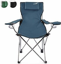 Divero Camping Stuhl Faltstuhl Angelstuhl dunkelblau Kopfkissen Getränke robust bis 130 kg