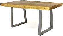 DIVERO Esstisch massiver robuster exklusiver Suar Echtholz Baumtisch Esszimmertisch Baumkantentisch Couchtisch Tisch Metallgestell 160 cm für 4 bis 6 Personen SONDERPOSTEN B-WARE