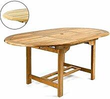DIVERO GL05520 Ovaler ausziehbarer Gartentisch Esstisch Balkontisch Holz Teak Tisch für Terrasse Balkon Wintergarten witterungsbeständig behandelt massiv 120 / 170 cm natur