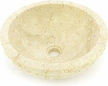 DIVERO Handwaschbecken Aufsatz- Waschbecken Waschschale Marmor Natur-Stein poliert rund beige creme
