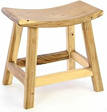 Divero Hocker aus Suar Holz Holzhocker Sitzhocker massiv unbehandel