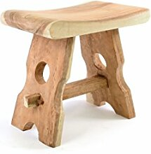 Divero Hocker Sitzhocker Holzhocker Badhocker Duschhocker Schemel – Suar Holz Massiv Reine Handarbeit Eckig - Braun